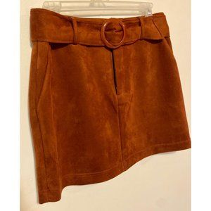 Brown Faux Suede Mini Skirt w/ Pockets & Belt